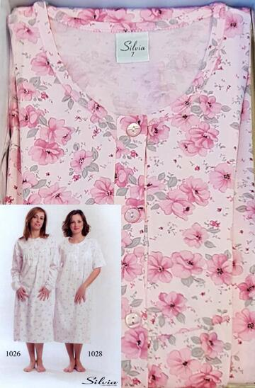 Camicia da notte a manica lunga donna in cotone Silvia 1026 - SITE_NAME_SEO