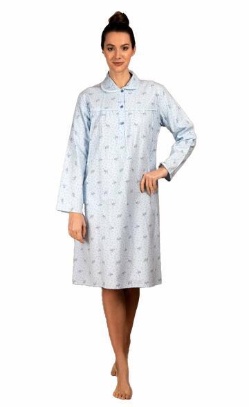 Camicia da notte donna in flanella di cotone Silvia 1158 - SITE_NAME_SEO
