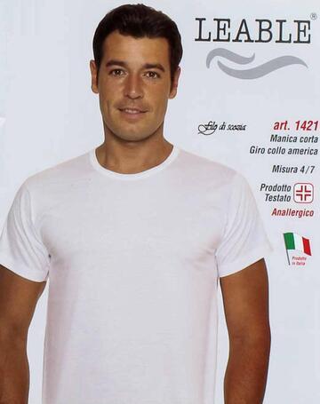 T-shirt uomo in cotone mercerizzato girocollo Leable 1421 Tg.8/9 Bianco - SITE_NAME_SEO