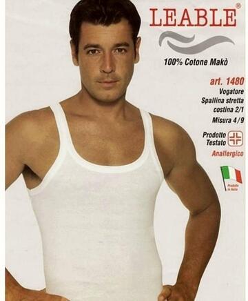 Canottiera uomo in cotone a costine Leable 1480 - SITE_NAME_SEO