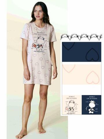 Camicia da notte donna in cotone manica corta Crazy Farm 15604 - SITE_NAME_SEO
