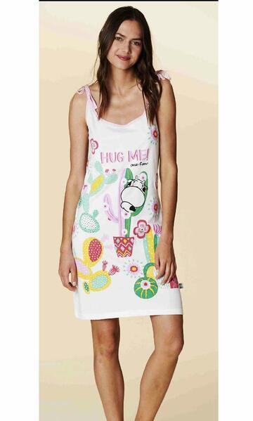 Camicia da notte donna spalla stretta in cotone Crazy Farm 15625 - SITE_NAME_SEO