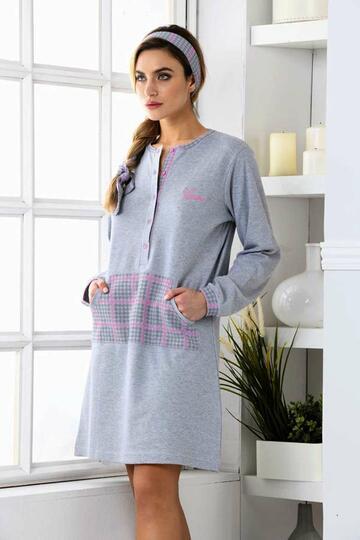 Camicia da notte donna in cotone caldo Kissimo Biancaluna 3008 - SITE_NAME_SEO