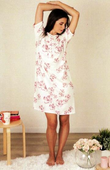 Camicia da notte donna a manica corta in cotone Silvia 41328 - SITE_NAME_SEO