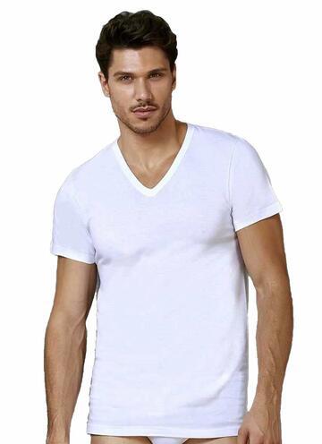 T-shirt uomo in puro cotone con scavo a V Oltremare 514 - SITE_NAME_SEO