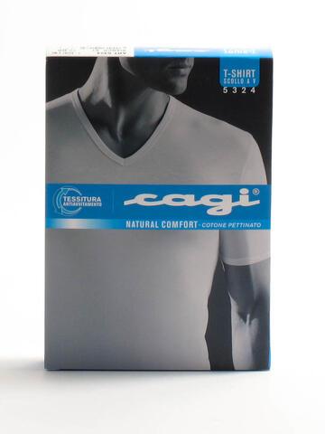 MAGLIA SCOLLO V MANICA CORTA UOMO CAGI 5324 - SITE_NAME_SEO
