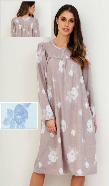 Camicia da notte in caldo cotone lanato Linclalor 77628 - SITE_NAME_SEO