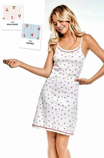 Camicia da notte donna in cotone a spallina Infiore Cherry CHE0435 - SITE_NAME_SEO