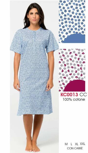 Camicia da notte donna a manica corta in jersey di cotone Karelpiu' KE0013 - SITE_NAME_SEO