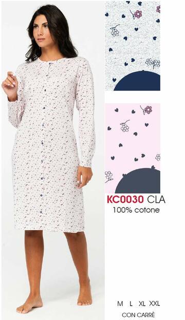 Camicia da notte donna CLINICA in cotone Karelpiu' KC0030 - SITE_NAME_SEO