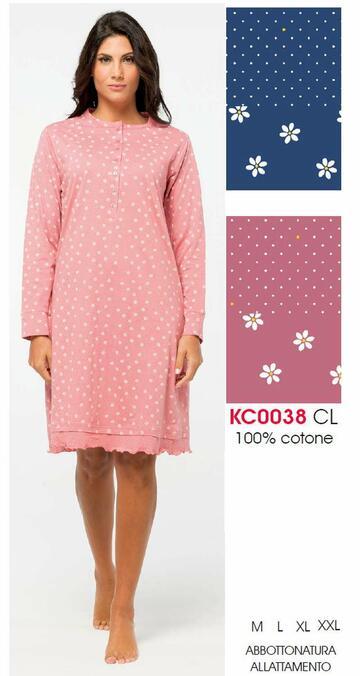 Camicia da notte donna in cotone manica lunga Karelpiu' KC0038 - SITE_NAME_SEO