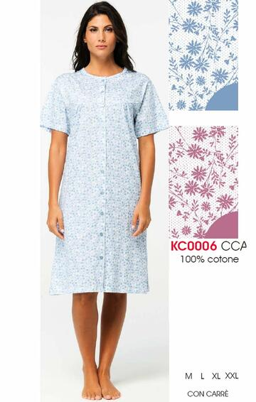 Camicia da notte donna CLINICA in cotone manica corta Karelpiu' KC0006 - SITE_NAME_SEO