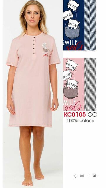 Camicia da notte donna a manica corta Karelpiu' KC0105 - SITE_NAME_SEO