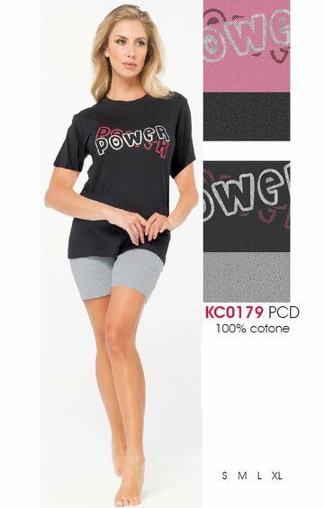 Pigiama donna a manica corta in cotone Karelpiu' KC0179 - SITE_NAME_SEO
