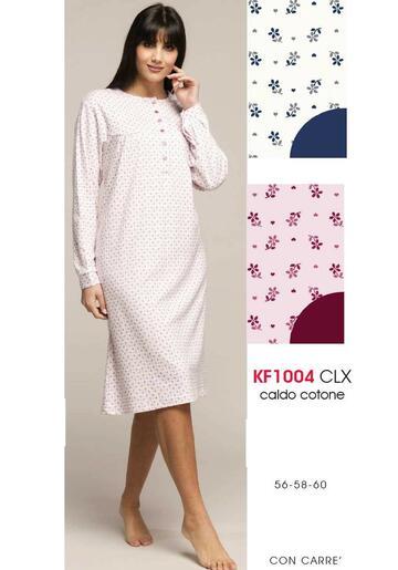 Camicia da notte donna calibrata in cotone caldo Karelpiu' KF1004 - SITE_NAME_SEO