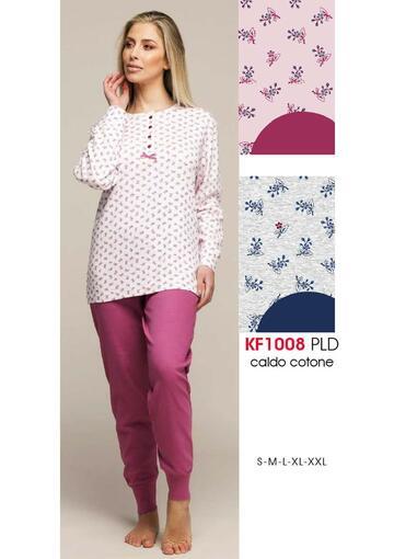 Pigiama donna in cotone caldo Karelpiu' KF1008 - SITE_NAME_SEO