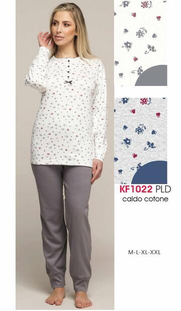 Pigiama donna in cotone caldo Karelpiu' KF1022 - SITE_NAME_SEO