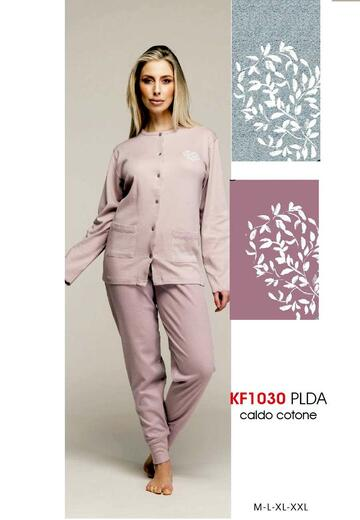 Pigiama donna aperto in cotone caldo Karelpiu' KF1030 - SITE_NAME_SEO