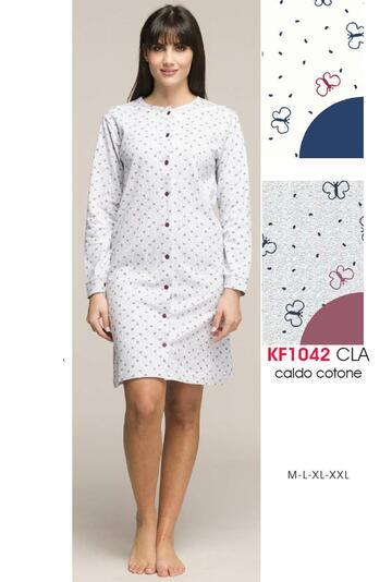 Camicia da notte donna CLINICA in cotone caldo Karelpiu' KF1042 - SITE_NAME_SEO