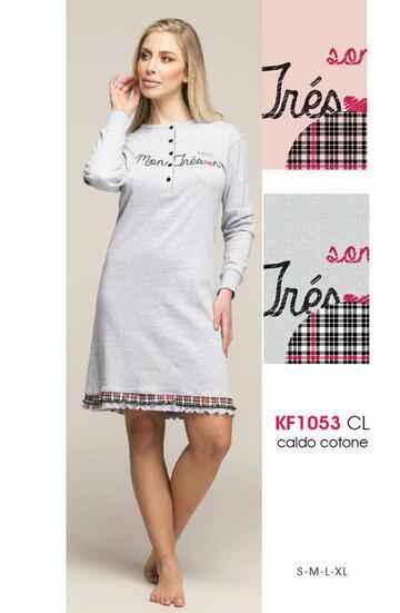 Camicia da notte donna in cotone caldo Karelpiu' KF1053 - SITE_NAME_SEO