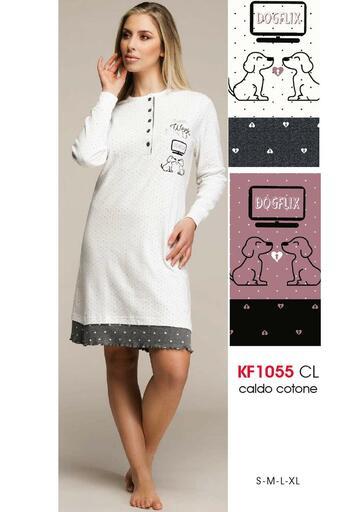 Camicia da notte donna in cotone caldo Karelpiu' KF1055 - SITE_NAME_SEO
