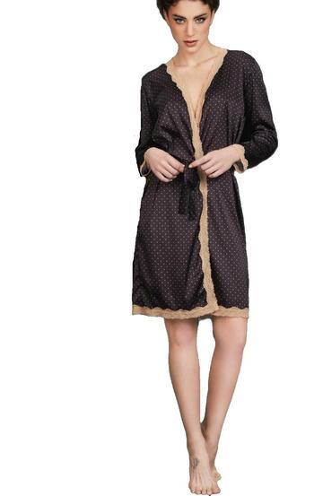 Kimono donna in raso setificato con pizzo Pura P0479 - SITE_NAME_SEO