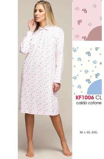 Camicia da notte con colletto in cotone caldo Karelpiu' KF1006 - SITE_NAME_SEO