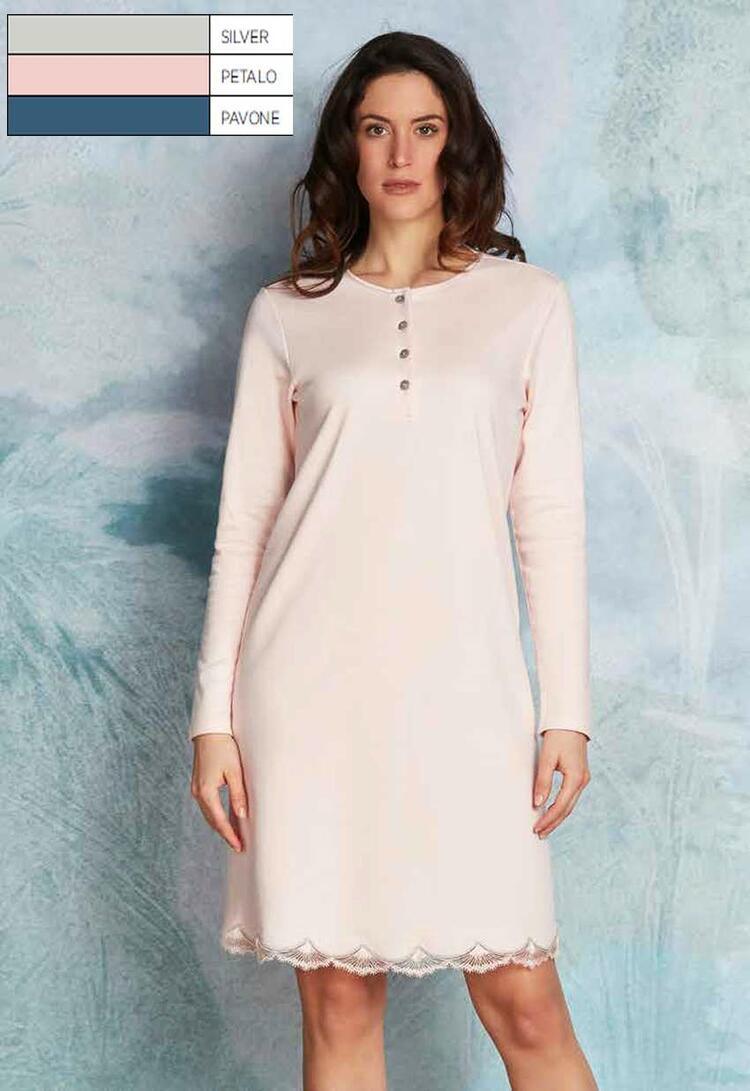 Camicia da notte donna in caldo cotone-modal Andra Lingerie 8860 Andra