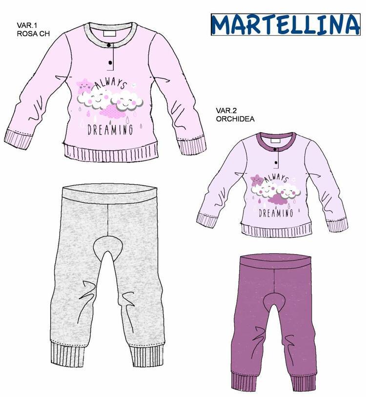 Pigiama da neonata in CALDO cotone Martellina NM10100 Martellina