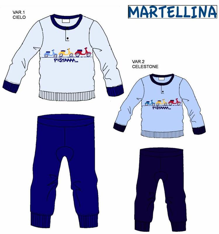 Pigiama da neonato in CALDO cotone Martellina NM10106 Martellina